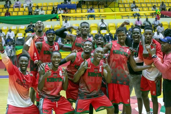 Kenya Morans dance after beating Morocco in the FIBA Afrocan championships to sail into the final in Bamako, Mali on July 25, 2019. PHOTO/ FIBA.COM