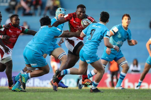 Kenya prop Andrew Siminyu charges at the defence in their World Rugby U20 Trophy 2019 Pool A match with Uruguay at the Estadio Martins Pereira in São Jose dos Campos, Brazil, on July 9, 2019. PHOTO/Brasil Rugby/Fotojump