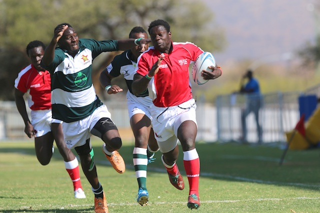 Kenya Rugby Under 20 squad, 'Chipus' in action against Namibia in last year's Barthes U20 Trophy. PHOTO/File
