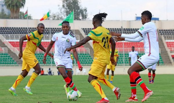 Kenya's Aboud Omar in action against Mali in a 2022 FIFA World Cup Qualifier at the Nyayo National Stadium in Nairobi, Kenya on Sunday, October 10, 2021. PHOTO    SwiftSportUG