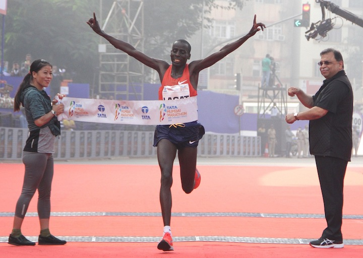Kenya's Cosmas Lagat wins at the 2019 Tata Mumbai Marathon on Sunday, January 20, 2019. PHOTO/ Procam International