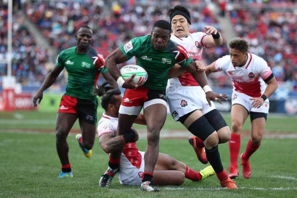 Kenya's Cyprian Kuto charges through the Japan defense on day two of the HSBC World Rugby Sevens Series in Las Vegas on 2 March, 2019. PHOTO/Mike Lee/KLC fotos for World Rugby