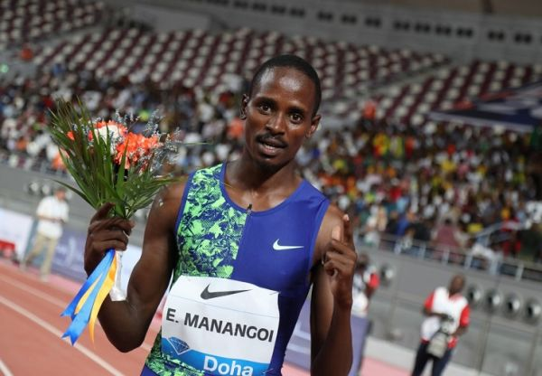 Kenya's Elijah Motonei Manangoi celebrates after winning the men's 1500m during the IAAF Diamond League competition on May 3, 2019 in Doha. PHOTO | AFP
