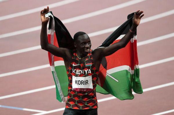 Kenya's Emmanuel Kipkurui Korir celebrates winning the men's 800m Final at the Olympic Stadium on the twelfth day of the Tokyo 2020 Olympic Games in Japan.