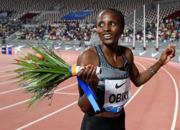 Kenya's Hellen Obiri celebrates after winning the women's 3000m during the IAAF Diamond League competition on May 3, 2019 in Doha. PHOTO/AFP