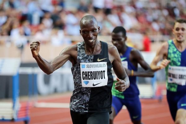 Kenya's Timothy Cheruiyot celebrates as he crosses the finish line and wins the Men's 1500m during the IAAF Diamond League competition on July 12, 2019 in Monaco. PHOTO/AFP