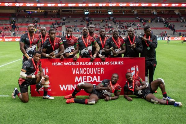 Kenya Sevens team pose with their second place medal after losing the final to South Africa on Monday, September 20, 2021. PHOTO   Alamy