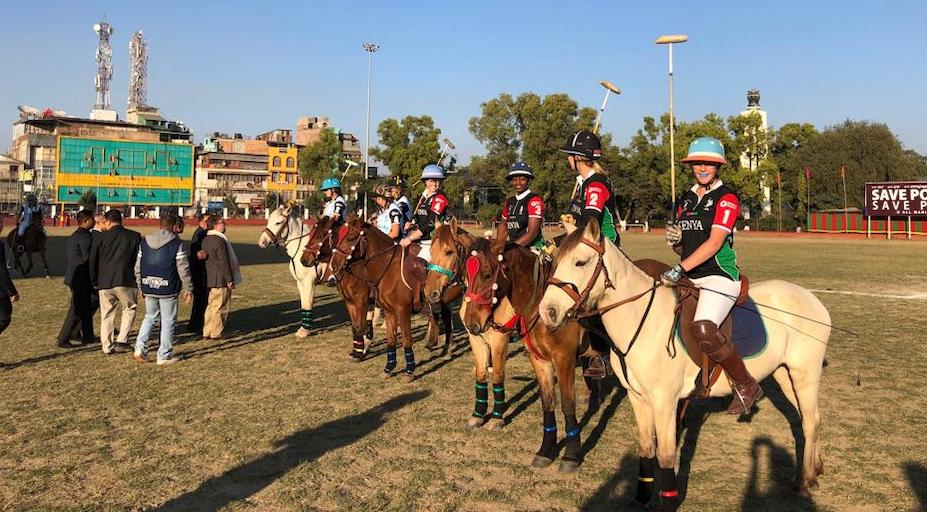 Kenya women polo team that is representing the country at the ongoing fourth edition of India Statehood Day Women's Polo Tournament in India. PHOTO/COURTESY