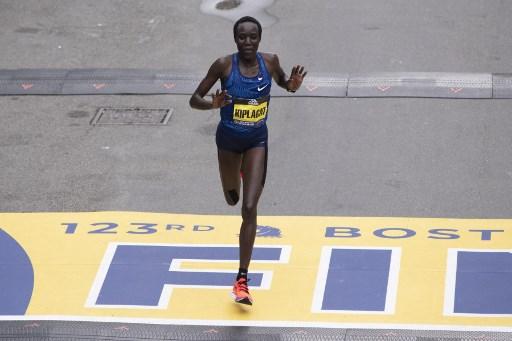 Kenyan Edna Kiplagat, places 2nd in the Men's Elite race at the 123rd Boston Marathon on April 15, 2019 in Boston, Massachusetts. PHOTO/AFP