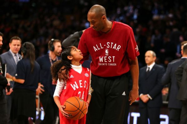 Kobe Bryant #24 of the Los Angeles Lakers and the Western Conference warms up with daughter Gianna Bryant during the NBA All-Star Game 2016 at the Air Canada Centre on February 14, 2016 in Toronto, Ontario. PHOTO | AFP