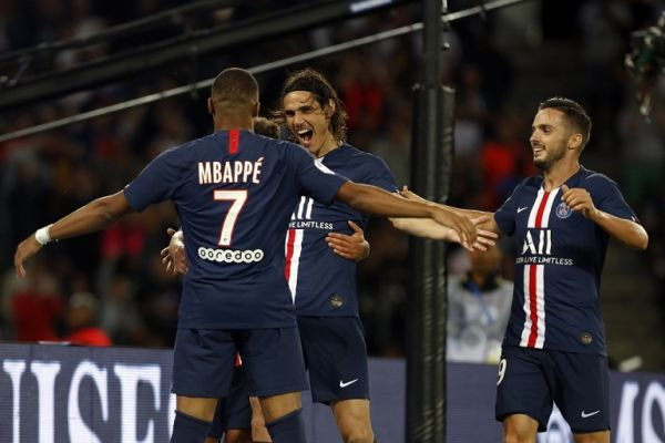 Kylian Mbappe, Pablo Sarabia Garcia and Edison Cavani during the Ligue 1 match between Paris Saint-Germain and Nimes Olympique at Parc des Princes on August 11, 2019 in Paris, France. PHOTO | AFP
