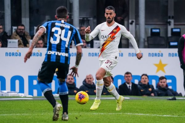 Leonardo Spinazzola of AS Roma during the Italian championship Serie A football match between FC Internazionale and AS Roma on December 6, 2019 at Giuseppe Meazza stadium in Milan, Italy. PHOTO | AFP