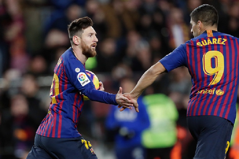 Lionel Messi of FC Barcelona Celebrates 1-2 with Luis Suarez of FC Barcelona during the La Liga Santander match between FC Barcelona v Valencia at the Camp Nou on February 2, 2019 in Barcelona Spain. PHOTO/GettyImages
