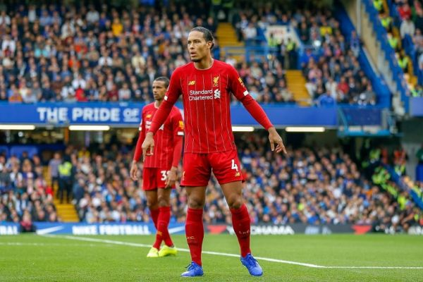 Liverpool defender Virgil van Dijk (4) during the English championship Premier League football match between Chelsea and Liverpool on September 22, 2019 at Stamford Bridge in London, England. PHOTO | AFP