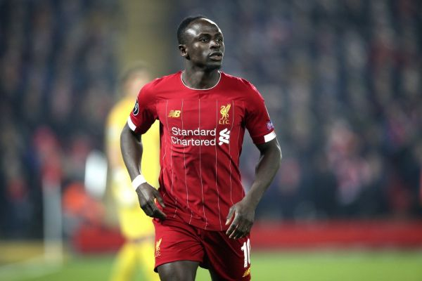 Liverpool forward Sadio Mane (10) during the Champions League match between Liverpool and KRC Genk at Anfield, Liverpool, England on 5 November 2019.  PHOTO | AFP