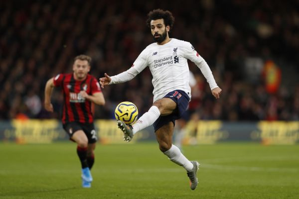 Liverpool's Egyptian midfielder Mohamed Salah controls the ball during the English Premier League football match between Bournemouth and Liverpool at the Vitality Stadium in Bournemouth, southern England on December 7, 2019. PHOTO | AFP