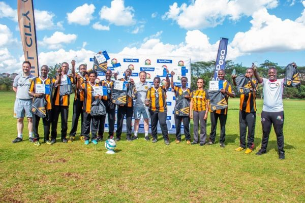 Local coaches celebrate with Hull City FC trainers following completion of  'Coaches To Count On' Training In Kenya on April 9, 2019. PHOTO/ BRIAN KINYANJUI