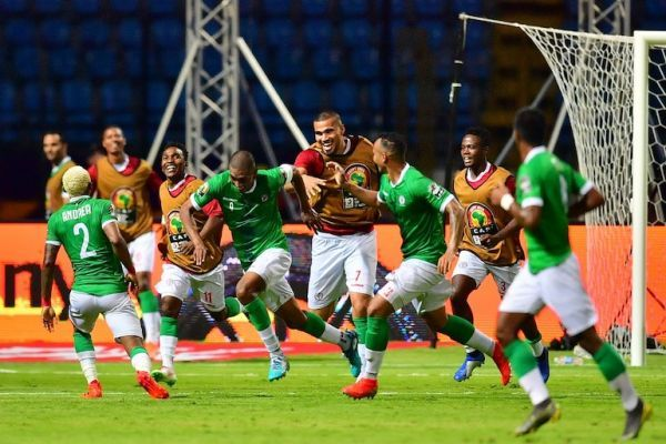Madagascar's forward Faneva Andriatsima (4th-L) celebrates his goal during the 2019 Africa Cup of Nations (CAN) Round of 16 football match between Madagascar and DR Congo at the Alexandria Stadium in the Egyptian city on July 7, 2019. PHOTO/AFP