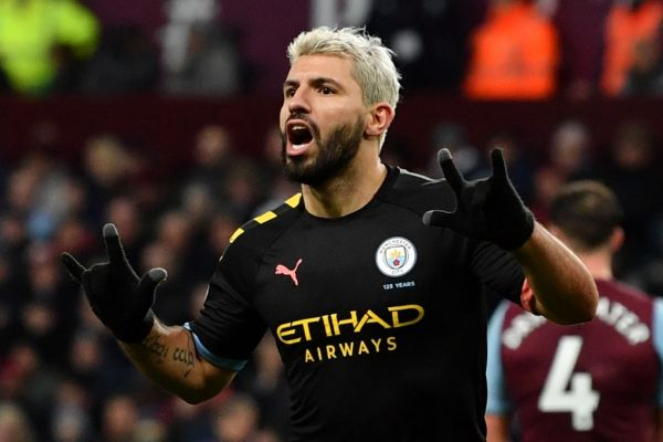 Manchester Cits Argentinian striker Sergio Aguero celebrates scoring the fifth goal during the English Premier League football match between Aston Villa and Manchester City at Villa Park in Birmingham, central England on January 12, 2020. PHOTO | AFP