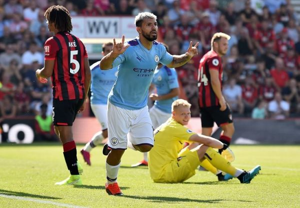 Manchester City's Argentinian striker Sergio Aguero celebrates scoring his team's third goal during the English Premier League football match between Bournemouth and Manchester City at the Vitality Stadium in Bournemouth, southern England on August 25, 2019. PHOTO | AFP