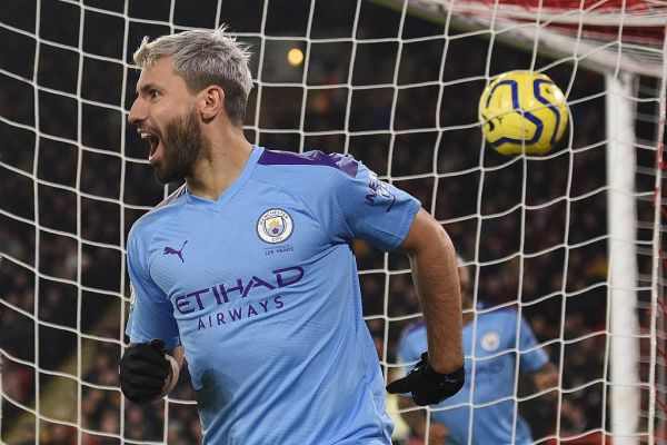 Manchester City's Argentinian striker Sergio Aguero celebrates scoring the opening goal during the English Premier League football match between Sheffield United and Manchester City at Bramall Lane in Sheffield, northern England on January 21, 2020. PHOTO | AFP