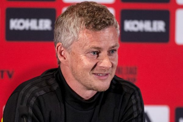 Manchester United's coach Ole Gunnar Solskjaer attends a press conference ahead of the team's pre-season friendly football matches against Perth Glory and Leeds United at Optus Stadium in Perth on July 10, 2019. PHOTO/AFP