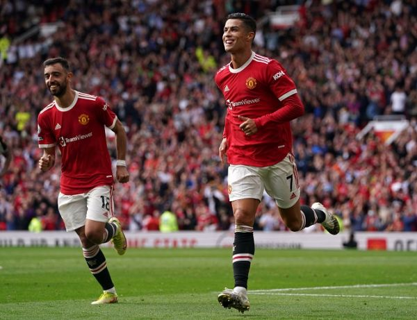 Manchester United's Cristiano Ronaldo celebrates scoring their side's first goal of the game during the Premier League match at Old Trafford, Manchester. PHOTO | Alamy