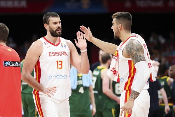 Marc Gasol (L) of Spain claps hands with his teammate during the semifinal match between Spain and Australia at the 2019 FIBA World Cup in Beijing, capital of China, Sept. 13, 2019. PHOTO | AFP
