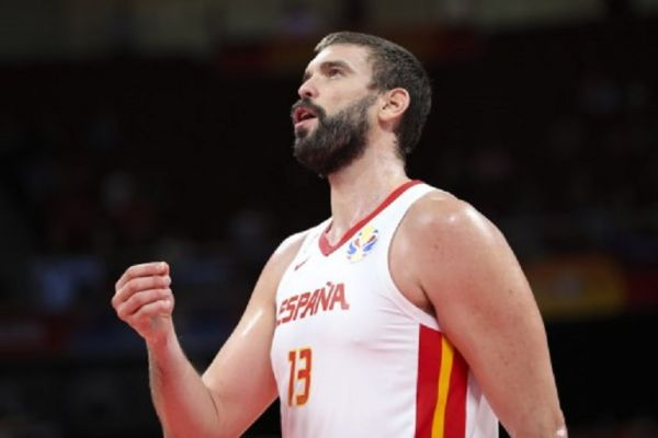 Marc Gasol of Spain reacts during the semifinal match between Spain and Australia at the 2019 FIBA World Cup in Beijing, capital of China, Sept. 13, 2019.PHOTO/ AFP