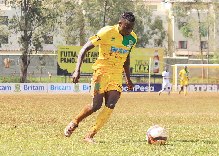 Mathare talisman Cliff Nyakeya in action in a past SPL match at Ruaraka Stadium in Nairobi.PHOTO/SPN