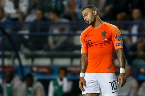 Memphis Depay of Netherlands reacts during UEFA Euro 2020 qualifying match between Estonia and Netherlands on September 9, 2019 at A Le Coq Arena in Tallinn, Estonia. PHOTO | AFP