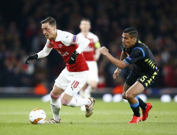 Mesui Ozil of Arsenal during UEFA Europa League Quarter - Final 1st Leg between Arsenal and Napoli at Emirates stadium, London, United Kingdom on 11 Apr 2019. PHOTO/AFP