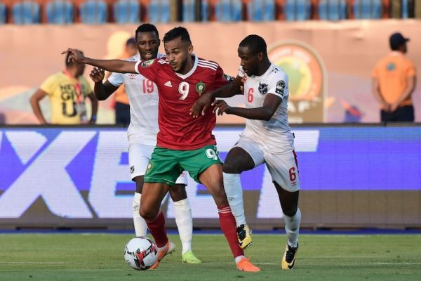 Morocco's forward Sofiane Boufal (C) is marked by Namibia's midfielder Petrus Shitembi (L) and Namibia's midfielder Larry Horaeb during the 2019 Africa Cup of Nations (CAN) football match between Morocco and Namibia at the Al Salam Stadium in Cairo on June 23, 2019. PHOTO/AFP