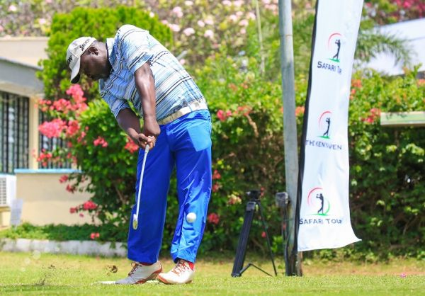 Mumias Sugar-based Dismas Indiza tees-off on day three of the Safari Tour Golf Series at the Nyali Golf Club in August 2018. PHOTO/ SPN