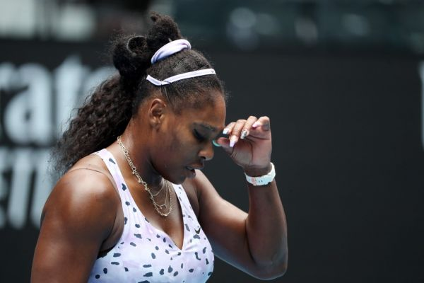 """n this file photo taken on January 24, 2020, Serena Williams of the US reacts after a point against China's Wang Qiang during their women's singles match on day five of the Australian Open tennis tournament in Melbourne. Tennis great Serena Williams says she is """"on edge"""" as she practices social distancing recommended by health experts in a bid to slow the spread of coronavirus. The 23-time Grand Slam champion posted a series of videos on TikTok on March 21, 2020, describing her concerns for her 2-year-old daughter, Olympia. PHOTO 