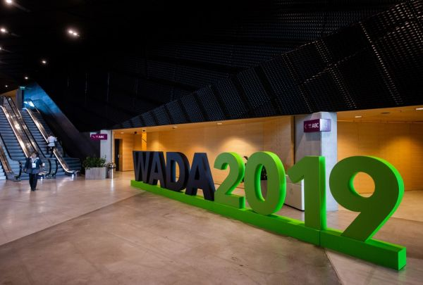 n this file photo taken on November 7, 2019 the logo of the World Anti-Doping Agency (WADA) is seen in Katowice, Poland. A World Anti-Doping Agency (WADA) panel has recommended Russia be hit with a four-year ban from sporting competition after falsifying laboratory data handed over to investigators, the global anti-doping watchdog said on November 25, 2019. In a statement, WADA said its Compliance Review Committee had called for the sanction, which would see Russia banned from next year's Olympics, to be approved at a meeting in Paris on December 9. PHOTO | AFP
