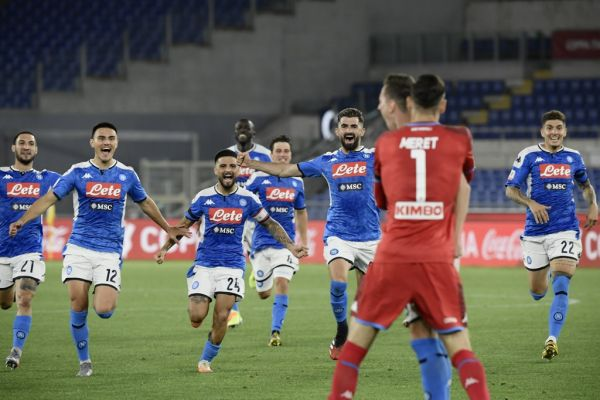 Napoli's Italian forward Matteo Politano, Napoli's Macedonian defender Eljif Elmas, Napoli's Italian forward Lorenzo Insigne Napoli's Macedonian defender Eljif Elmas and Napoli's Italian defender Giovanni Di Lorenzo (R) run to celebrate with Napoli's Polish forward Arkadiusz Milik after he scored the winning goal of the penalty shootout for Napoli to win the TIM Italian Cup (Coppa Italia) final football match Napoli vs Juventus on June 17, 2020 at the Olympic stadium in Rome, PHOTO | AFP