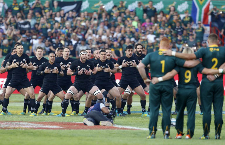 New Zealand's All Blacks rugby players perform the haka before the start of the Rugby Championship match between South Africa and New Zealand at the Loftus Versfeld stadium in Pretoria, South Africa, on October 6, 2018. PHOTO/AFP