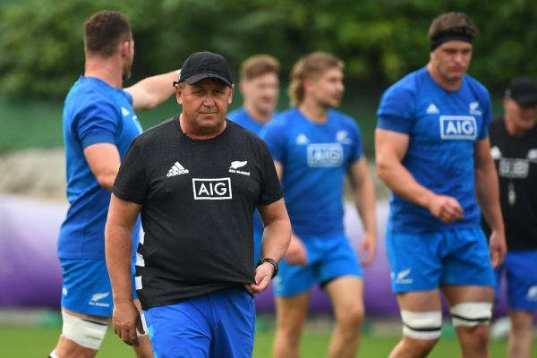 New Zealand's assistant coach Ian Foster takes part in a team training session in Beppu on September 28, 2019, during the Japan 2019 Rugby World Cup. PHOTO \ AFP