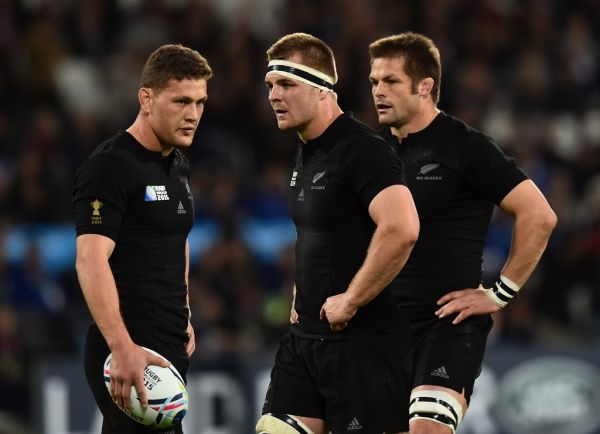New Zealand's fly half Beauden Barrett, New Zealand's flanker and captain Sam Cane and New Zealand's flanker Richie McCaw react during a Pool D match of the 2015 Rugby World Cup between New Zealand and Namibia at the Olympic stadium, east London, on September 24, 2015. PHOTO | AFP