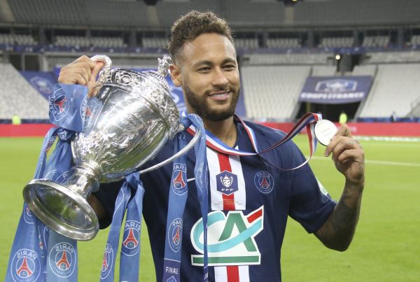 Neymar Jr of PSG celebrates winning the French cup following the French Cup final football match between Paris Saint-Germain (PSG) and Saint-Etienne (ASSE) on Friday 24, 2020 at the Stade de France in Saint-Denis, near Paris, France. PHOTO | AFP