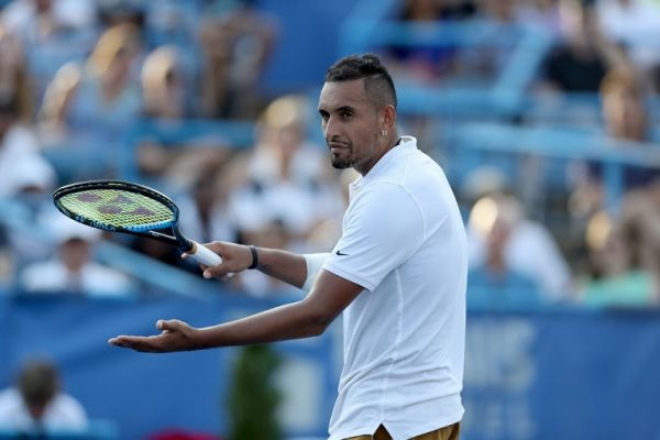Nick Kyrgios of Australia reacts to a call against Daniil Medvedev of Russia during the men's singles final of the Citi Open at Rock Creek Tennis Center on August 04, 2019 in Washington, DC. PHOTO | AFP