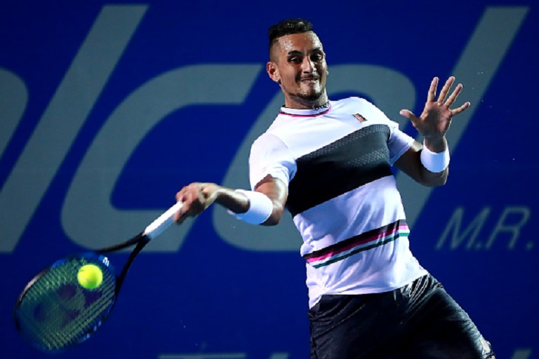 Nick Kyrgios of Australia returns a ball during the quarterfinals match between Nick Kyrgios of Australia and Stan Wawrinka of Switzerland as part of the day 4 of the Telcel Mexican Open 2019 at Mextenis Stadium on February 28, 2019 in Acapulco, Mexico.PHOTO/GETTY IMAGES