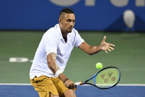 Nick Kyrgios of Australia returns a shot from Yoshihito Nishioka of Japan during Day 4 of the Citi Open at Rock Creek Tennis Center on August 1, 2019 in Washington, DC. PHOTO | AFP
