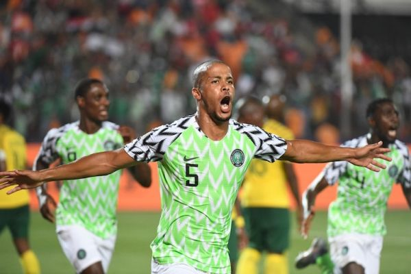 Nigeria's defender William Ekong celebrates his goal during the 2019 Africa Cup of Nations (CAN) quarter final football match between Nigeria and South Africa at Cairo international stadium on July 9, 2019. PHOTO/AFP