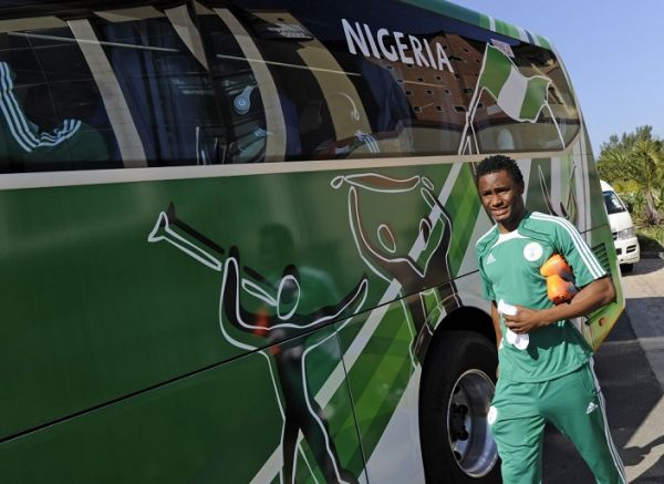 Nigerian football player midfielder Jon Obi Mikel arrives to the waiting bus before a close training session at Waterfront Protea Hotel in Richards Bay, 160 km north of Durban on June 4, 2010. PHOTO/AFP