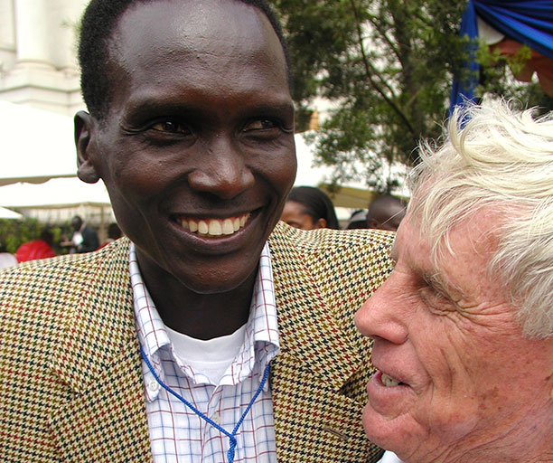 NOCK President, Paul Tergat (left) and IAAF Regional Development Centre official, John Velzian at a previous Stanchart International Marathon in Nairobi. Tergat was appointed by the International Olympics Committee to be part of the six-member Coordinating Commission for the Dakar 2022 Youth Olympic Games on Wednesday, October 10, 2018. PHOTO/File