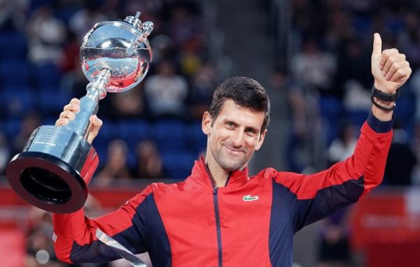 Novak Djokovic of Serbia celebrates after winning the final of the Rakuten Open Tennis against John Millman of Austria at Ariake Colosseum in Koto Ward, Tokyo on October 6, 2019. Djokovic won the match to claim his first Rakuten Open title. PHOTO | AFP