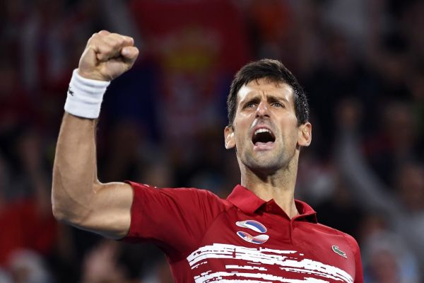 Novak Djokovic of Serbia reacts after winning against Rafael Nadal of Spain in their men's singles match in the final of the ATP Cup tennis tournament in Sydney on January 12, 2020. PHOTO | AFP