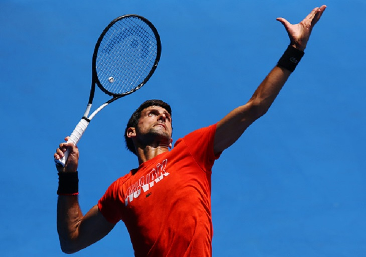 Novak Djokovic of Serbia serves in his match against Andy Murray of Great Britain ahead of the 2019 Australian Open at Melbourne Park on January 10, 2019 in Melbourne, Australia.PHOTO/GETTY IMAGES